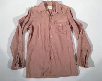 Vintage Men's Linen 1950's Shirt From Custom Shop New York in Size Small