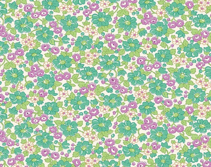 Prim and Proper Fabric by Lindsay Wilkes from The Cottage Mama for Riley Blake Designs and Penny Rose Fabrics - Teal Floral