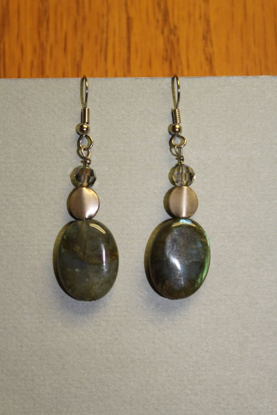 Labradorite Earrings Drop Dangle Hypoallergenic ear wires by watercolorsNmore