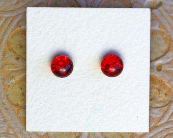 Dichroic Glass Earrings, Petite, Dark Red  DGE-1253