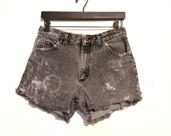 Gray Lee Distressed High Waisted Cut Off Jean Shorts medium