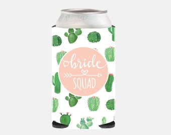 Pink Bridesmaid Gift Can Cooler Bachelorette Party Gifts Cactus Wedding Favors Cactus Bridesmaid Gift Ideas Can Hugger Pink and Green QZ