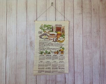 Vintage 1981 80s Cloth Calendar Wall Hanging with Peanut Butter Cookie Recipe