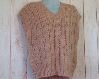 Vintage 80s Rose Pink Loose KNitted V Neck Sweater Vest by Country Craft Ladies M