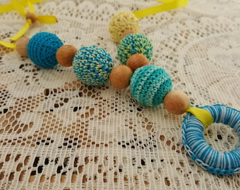 Teal Yellow Blue breastfeeding necklace Nursing Necklace Teething