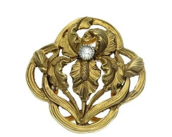 ON SALE Antique Gold Floral Clip - French Art Nouveau iris flower yellow gold old European cut diamond France c1900