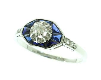 ON SALE Vintage Art Deco Sapphire Diamond Engagement Ring 18K White Gold Old European Cut Diamond 1920s French Jewellery