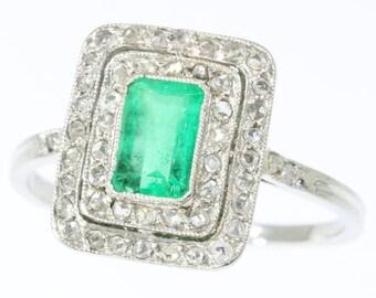 Emerald .80ct diamond engagement ring rectangular platinum rose cut diamonds French Art Deco ring vintage 1920s jewelry