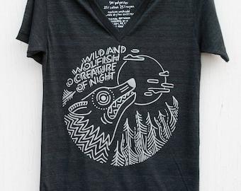 Black Hand Screen Printed Unisex Wolf V-neck - O Creature of Night