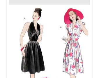 On Sale Pick Your Size - Misses' Fit and Flare Halter or Cap Sleeve Day Dresses - Retro Butterick '47 Dress Pattern B5209