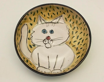Ceramic Cat Feeding Dish - Pet Feeding Bowl - White Cat - Cat Feeding Dish - Clay Pottery Majolica - Pet Food Bowl - Green - Shallow Bowl