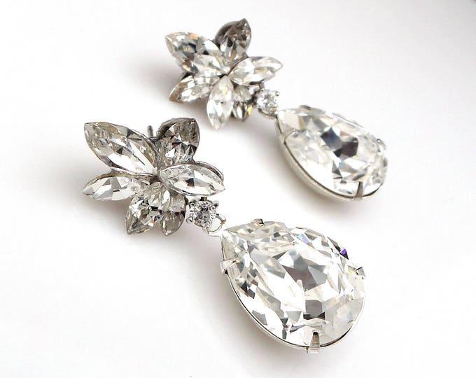 christmas prom bridal wedding bridesmaid gift Swarovski clear fancy marquise flower crystal rhinestone rhodium silver teardrop post earrings