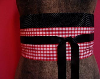 OBI belt black and Red GINGHAM