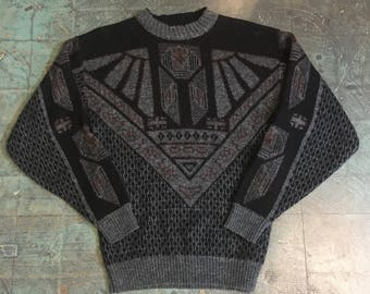 Vintage 80s Le Tigre metallic geometric sweater // size large
