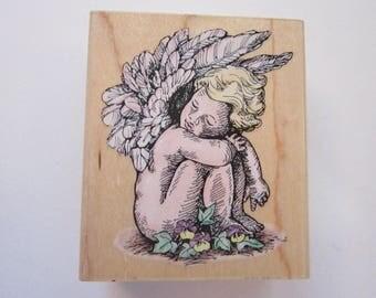 rubber stamp - RESTING CHERUB, angel - Stampendous 1998