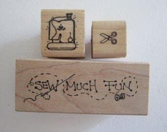 3 rubber stamps - cute SEWING stamps - sew much fun, sewing machine, scissors