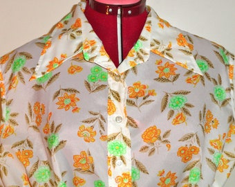 70's Vintage Ladies Butterfly Collar Sleeveless Floral Blouse Plus Shirt XL B44