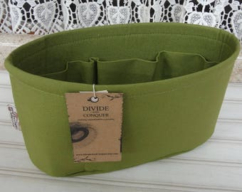 Ready to ship / Purse ORGANIZER Insert Shaper / Olive Green / Size SMALL /  10.5 x 3.5 x 6H oval / STURDY / Choice of bottom type