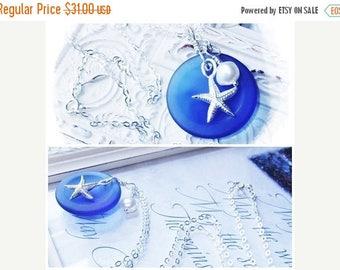 SALE Sterling Silver Starfish Pearl Necklace, Cobalt Blue Sea Glass, Sea Glass Jewelry, Starfish Jewelry, Starfish Pendant, Nautical Necklac