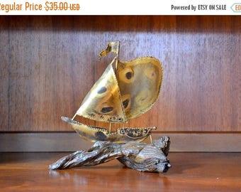 CIJ SALE 25% OFF vintage mid-century modern wood and metal ship figurine