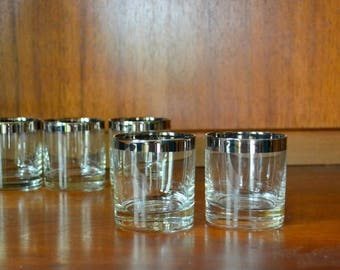 vintage mad men chic silver rimmed whiskey glasses / mid century modern / modern barware / silver rim cocktail set