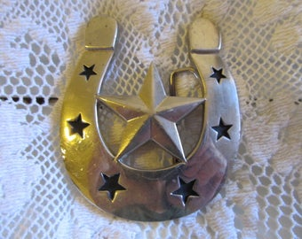 Large Vintage Silver Star Men's Belt Buckle