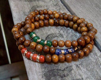 3 stack, Beaded Gemstone and Wood, Stretch Boho Stacker Bracelets, Red, Indigo Blue and Green