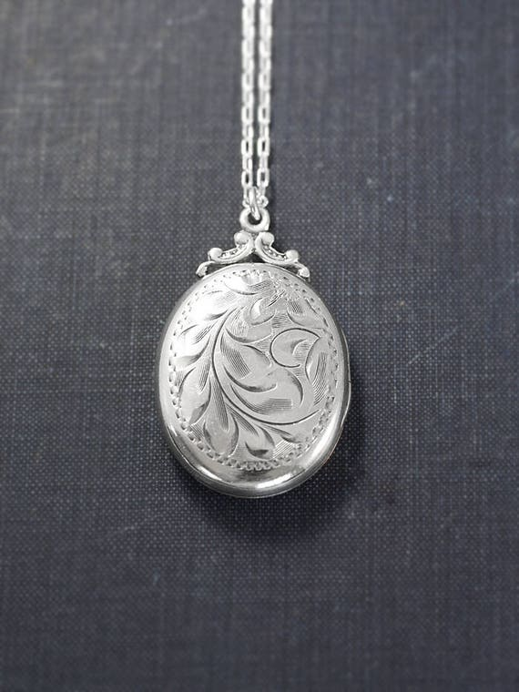 Birks Sterling Silver Locket Necklace, Vintage Swirling Vine Engraved Large Oval Photo Pendant - Nostalgic