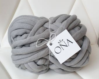 Chunky Cotton Tube yarn Vegan Wool Gray