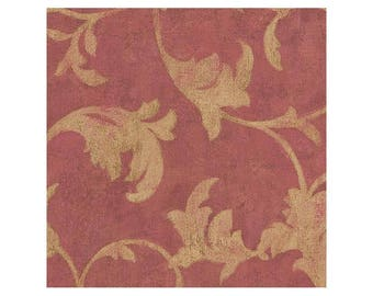 TE29305 Red with Gold Scroll Wallpaper - Yard