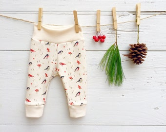 Baby Girl, Organic Baby Leggings, Birds and Berries Baby Pants, Christmas Baby Leggings, Knit Baby Pants, Baby Girl Pants, Newborn Leggings
