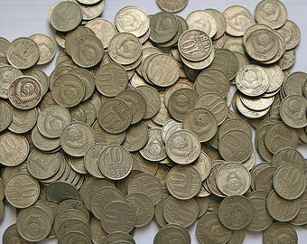 270 Soviet Russian Coin Coins from Russia Soviet Union USSR Craft Supplies Upcycle Recycle