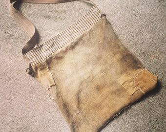 """Messenger Bag / Grain Sack / 20"""" X 20"""" / Charmingly Tattered"""