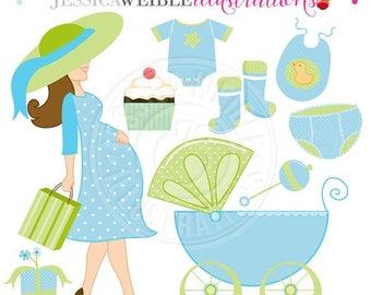 SALE Boy Baby Shower Cute Digital Clipart - Commercial Use OK - Baby Shower Clipart, Baby Carriage, Pregnant Woman Clipart