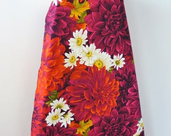Ironing Board Cover - deep red  and pink dahlia blooms with white daisies beautiful