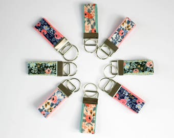 mini Rifle Paper Co keychain, rosa key fob, floral keychain, thumb fob, small gift under 10, teacher gift, womens key fob