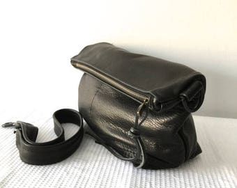 summer sale small black leather messenger bag - large leather clutch - black leather hobo bag - black leather travel tote - iPad bag