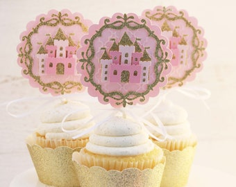 princess cupcake topper - princess party cupcake topper - princess cupcake decorations - princess party topper - princess cupcake toppers