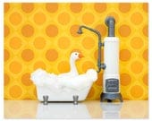 Bright bathroom animal art print: What's Good For The Goose