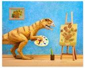 Funny dinosaur art print: Primitive Art