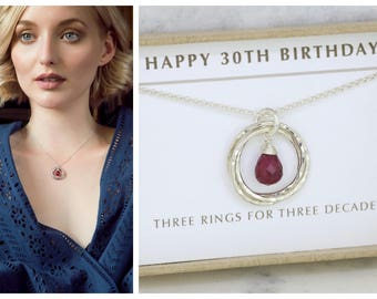 30th birthday gift, ruby necklace, July birthstone jewellery, July birthday gift 30th, 3 interlocking rings necklace - Lilia