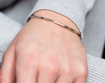 The best is yet to come bangle, inspirational bracelet for mother, friend, sister, bangle with words - Gracie