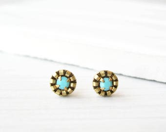 Small Turquoise Stud Earrings - Brass Posts, Titanium, Vintage Components, Crystal, Gold Tone, Simple