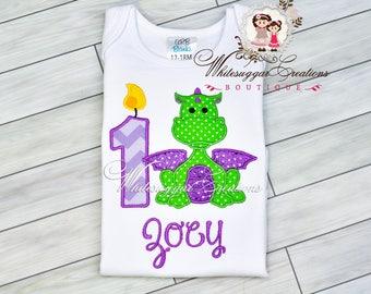 Baby Girl 1st Birthday Shirt, Custom Baby Girl Dragon Birthday Shirt,  Dragon Year Party, 1st Birthday Girl Outfit, First Birthday Shirt