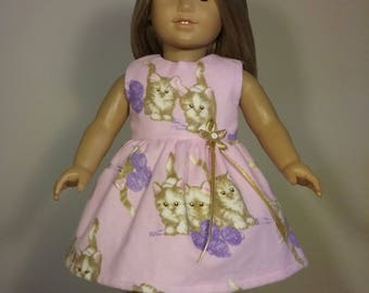 18 inch doll clothes Handmade Pink Kitten Print Dress fits like American Girl Doll Clothes