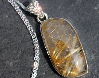 Golden Needles - Gorgeous Rutilated Quartz Sterling Silver Necklace