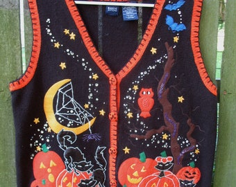 Vintage Ugly Halloween Sweater Vest ~ Tacky
