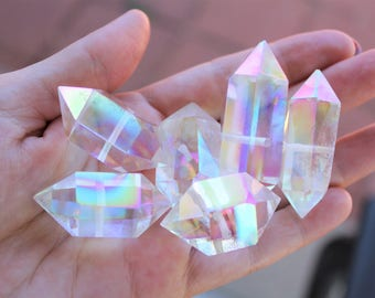 Angel Aura Quartz Crystals Aura Quartz Crystals Aura Quartz Beads Natural Quartz Beads Terminated Point AB Beads Rainbow Beads Drilled