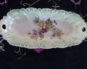 Bowl  Vintage Oval Violets and Daisy Double Handle dish for show - china oval dish