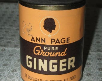 Vintage Ann Page Silhouette Brand Paper Label Ginger Round Spice Tin Unused A & P Tea Co